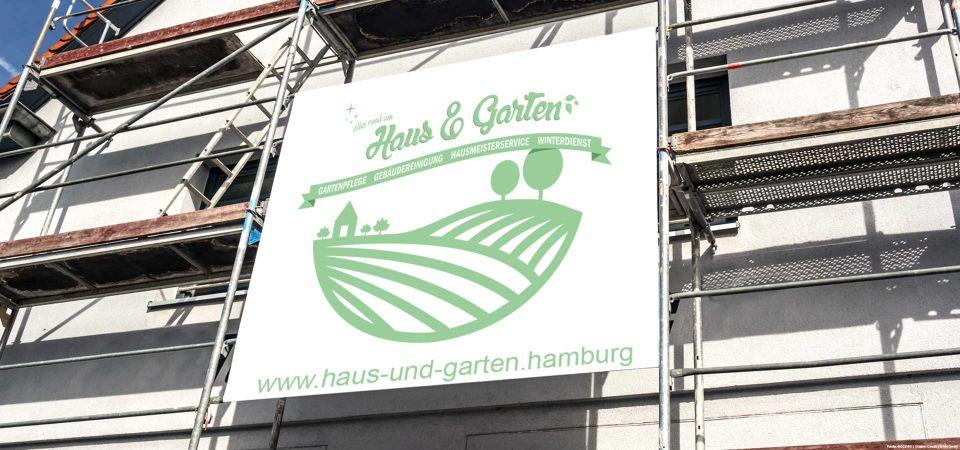 Werbeplakat Gerüst Haus und Garten Hamburg
