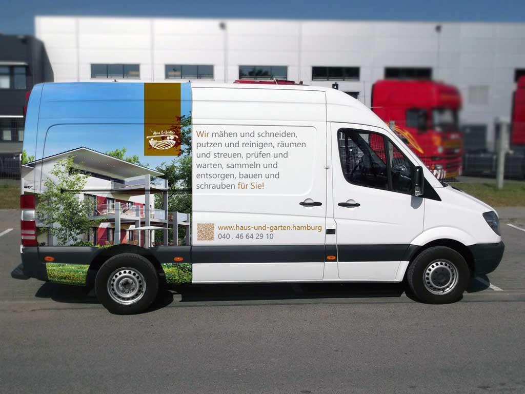 Fahrzeugwerbung für Anlagenpflege in Hamburg