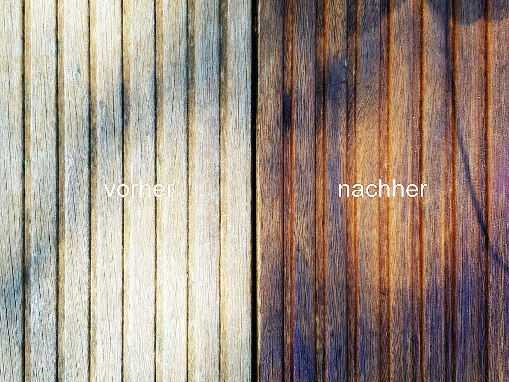 Vergleich Vorher / Nachher: Ölen einer Holzterrasse