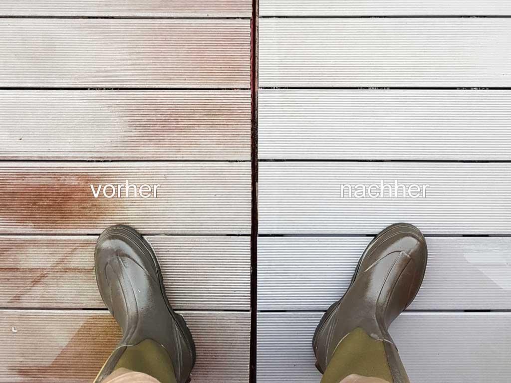 Terrassenreinigung: Vorher-Nachher-Ansicht einer gereinigten WPC Terrasse