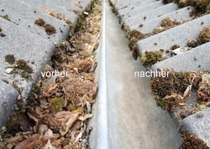 Regenrinne vor und nach einer Dachrinnenreinigung